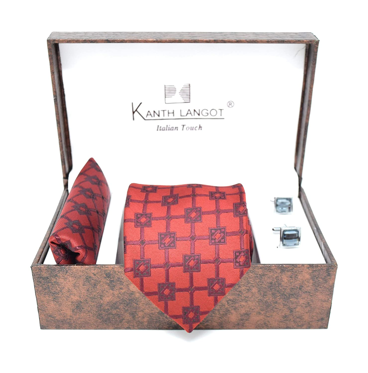 Kanthlangot Jacquard Red and Brown Tie Pocket Square And Black Cufflinks Set