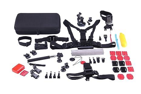 NK KITCAMARA - Kit de Accesorios para cámara acción, 53 Piezas, Incluye Maleta de Transporte, Compatible con Las Actuales cámaras del Mercado