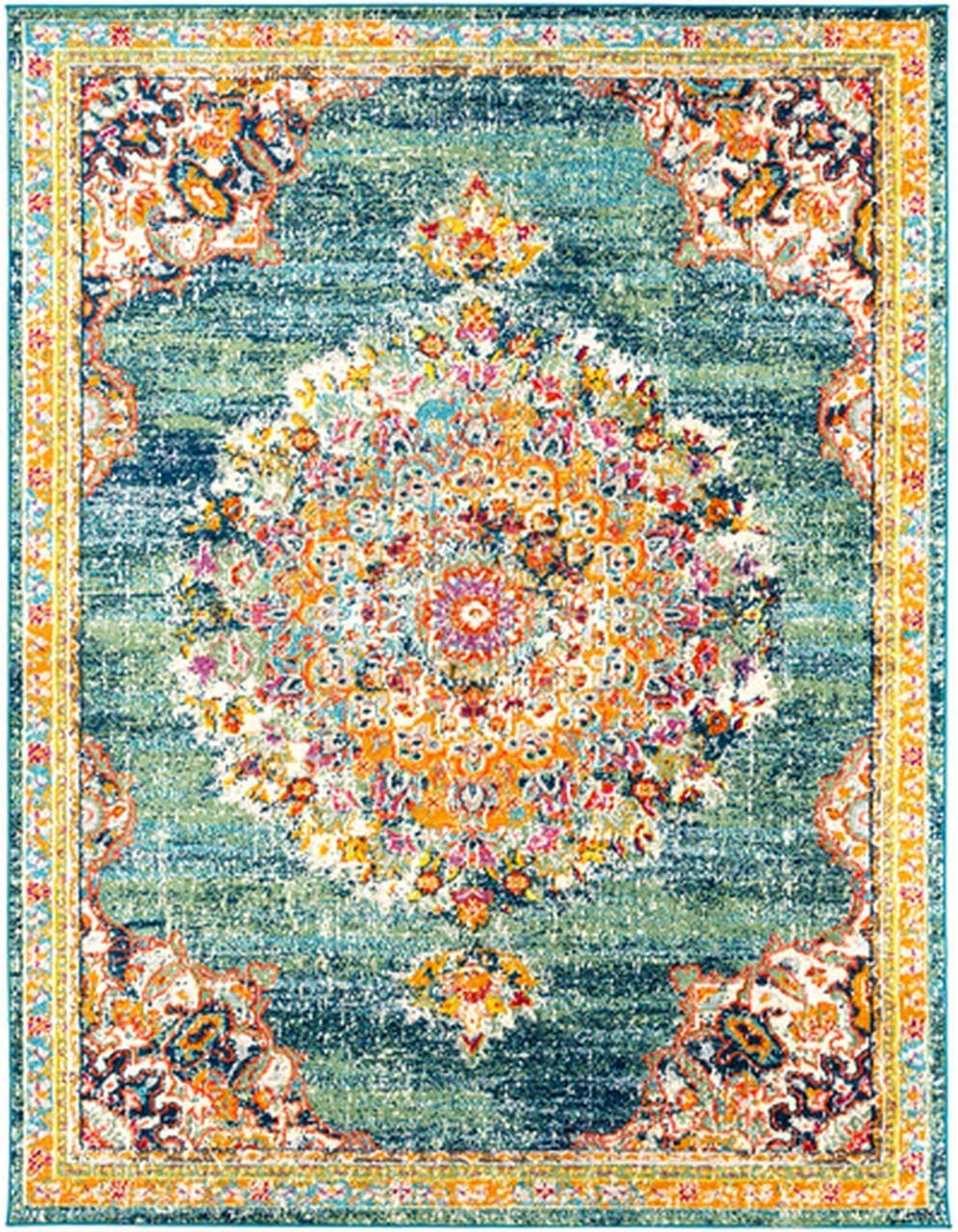 Tomales 7 10 x 10 3 Moroccan Bohemian Updated Traditional – Oriental Area Rug – Rectangle – Polypropylene – Teal, Navy, Pale Blue, Orange, Green, Red, Coral, Fuschia, Saffron, Yellow, Gray