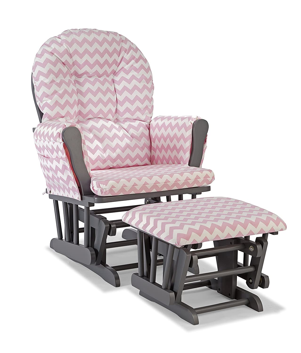 Storkcraft Hoop Custom Glider and Ottoman, Gray/Pink Chevron 06550-612G