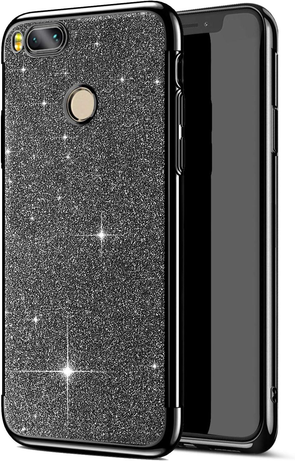 Jinghuash Kompatibel mit Xiaomi 5X//A1 H/ülle,Bling Gl/änzend Glitzer Handyh/ülle Transparent Ultra D/ünn Weich TPU Silikon Bumper Case Schutzh/ülle Handytasche-Rotgold
