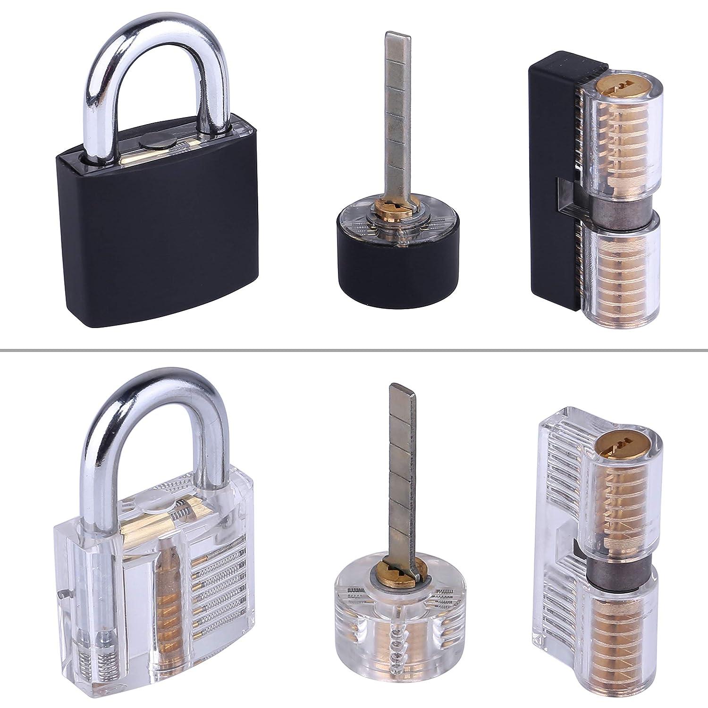 Dietrich Set Set di 17 pezzi Lock Pick Training Set con 3 chiusure trasparenti per allenamento per principianti e professionisti Lockpicking Set