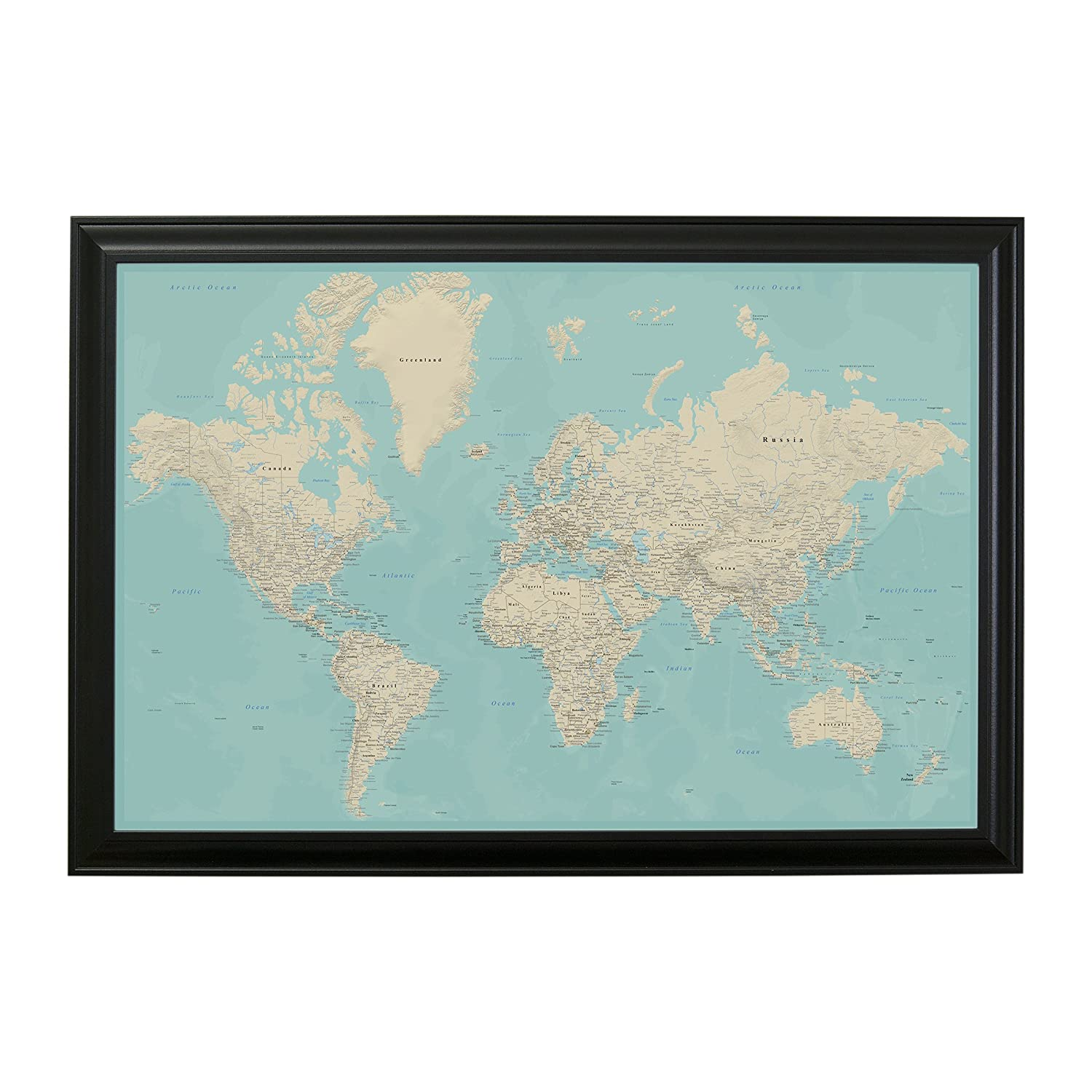 Amazon.com: Push Pin Travel Maps Teal Dream World with Black Frame ...