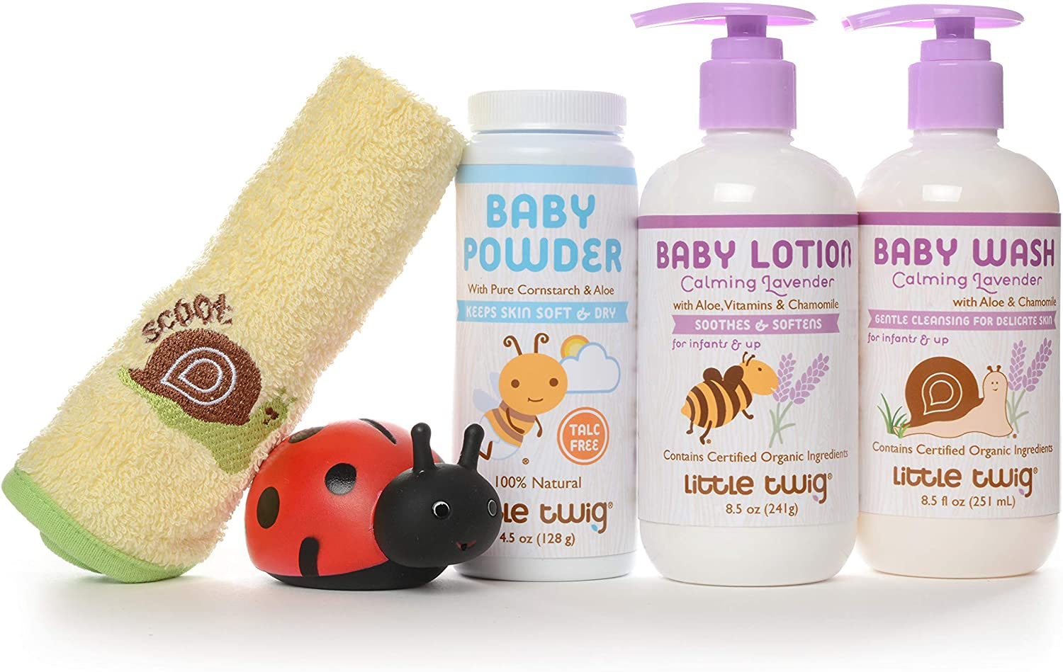 Little Twig Baby Basics Baby Powder Plus Baby Wash and Lotion Washcloth and Tub Toy Gift Set, Lavender/Unscented, 1.9 Pound