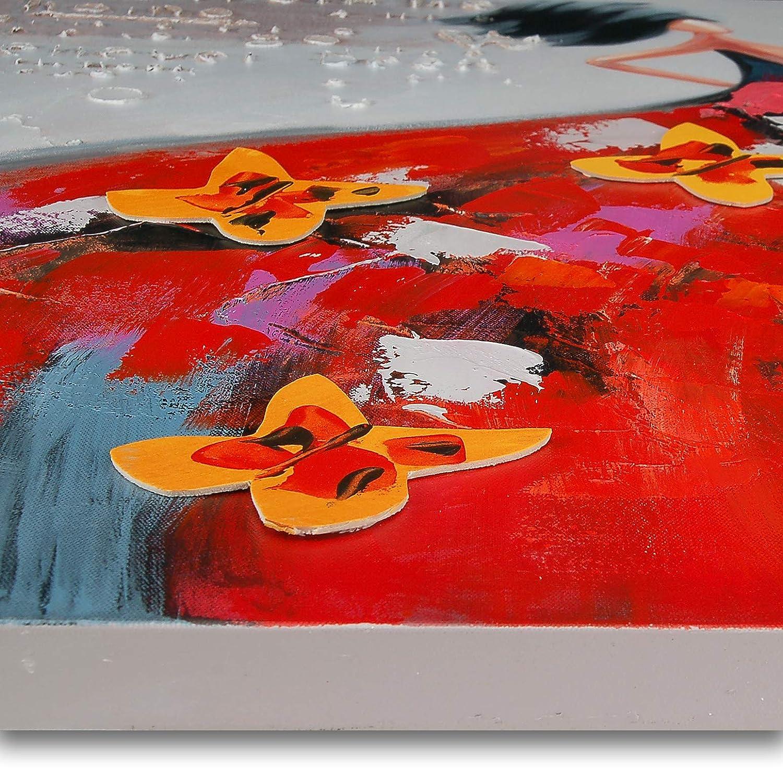 World Art TW60078 Dipinto su telaio estetico Donna Con Farfalle 100x100x3.5 Cm Legno