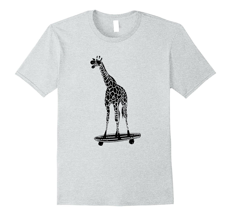 Giraffe on a Skateboard T-Shirt - With Sunglasses-AZP