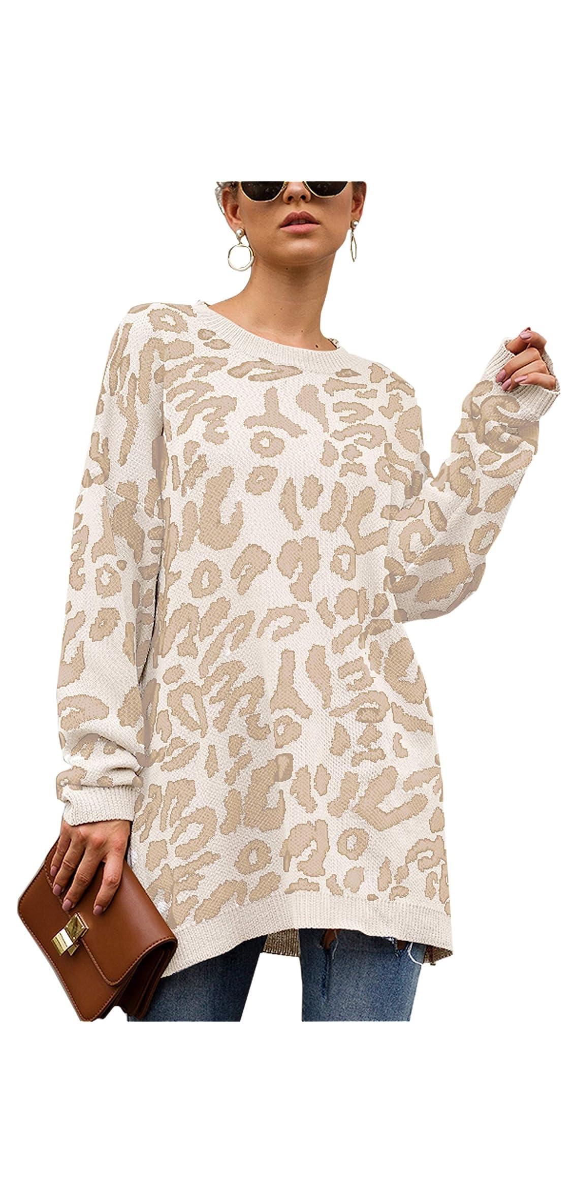 Women's Oversized Leopard Print Sweater Long Sleeve Tops