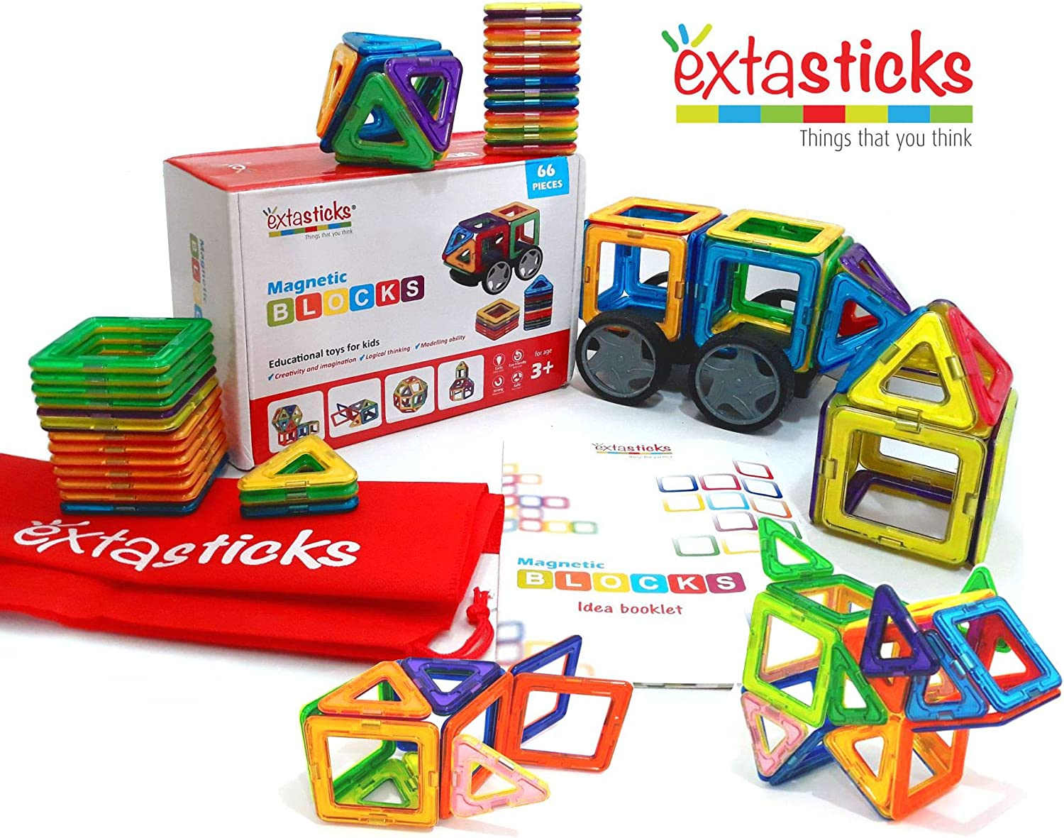 Creative Magnetic Shapes Tiles Building Set 62 Pieces Kids Educational Toy Gift