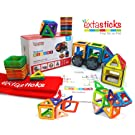 Extasticks Magnetic Blocks (66pcs Set) Magnetic Building Blocks, Shapes, Tiles - Educational Toys for Toddlers - Magnets for Kids - Magnet Construction Toys Toddler Learning kit (NonToxic Certified)