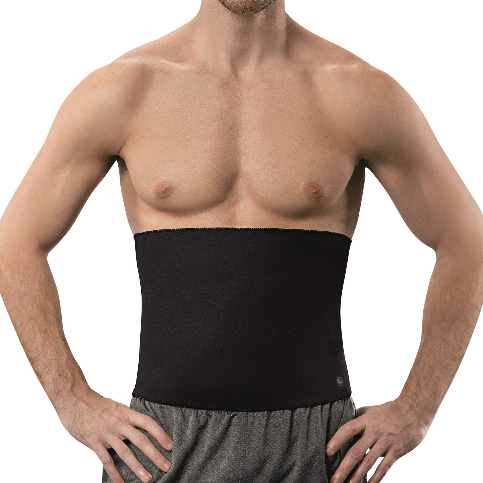 Copper Slim Sweat Belt for Men - Copper Infused Waist Trimmer Belt (Black, M)
