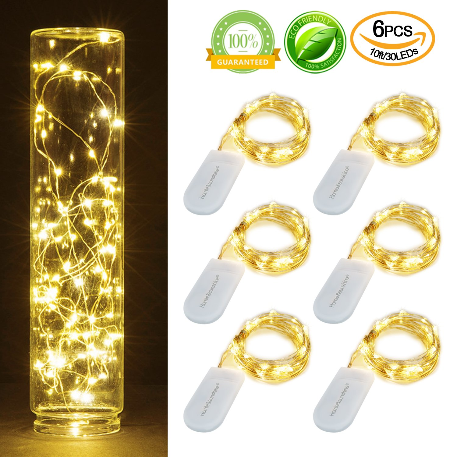 Amazon.com : Pack of 6 Sets 10ft(3m) LED Starry String Lights 30 ...