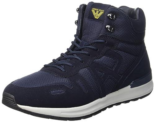 Armani Jeans Men's Hiking Sneaker High-Top Trainers, Blau (Dark Blu/Blu