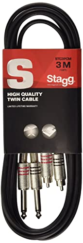 Stagg STC3PCM 3m/10 ft Twin Jack to RCA Phono Cable - Black