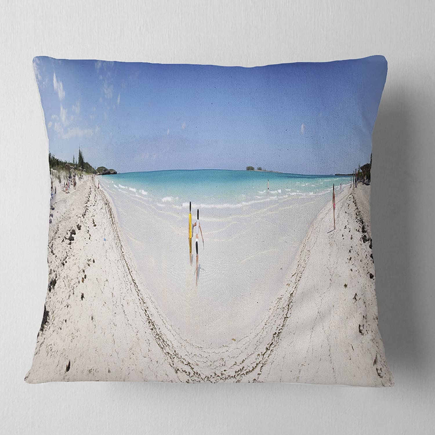 Designart CU11451-26-26 Cayo Coco Tropical Beach Panorama' Modern Seascape Cushion Cover for Living Room, Sofa Throw Pillow 26 in. x 26 in. in, Insert Printed On Both Side