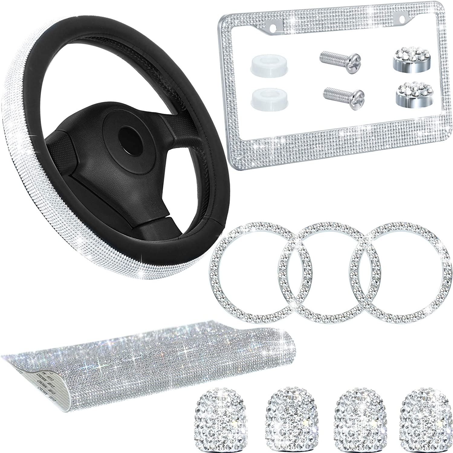 10 Packs 4 Blings Car Coasters Car Accessories for women Set /& 1 Car Phone Holder Mount 2 Pieces Bling Sunglasses Holders and 2 Bling Stickers for Car Interior Decoration for Girl /& Mother/'s Day