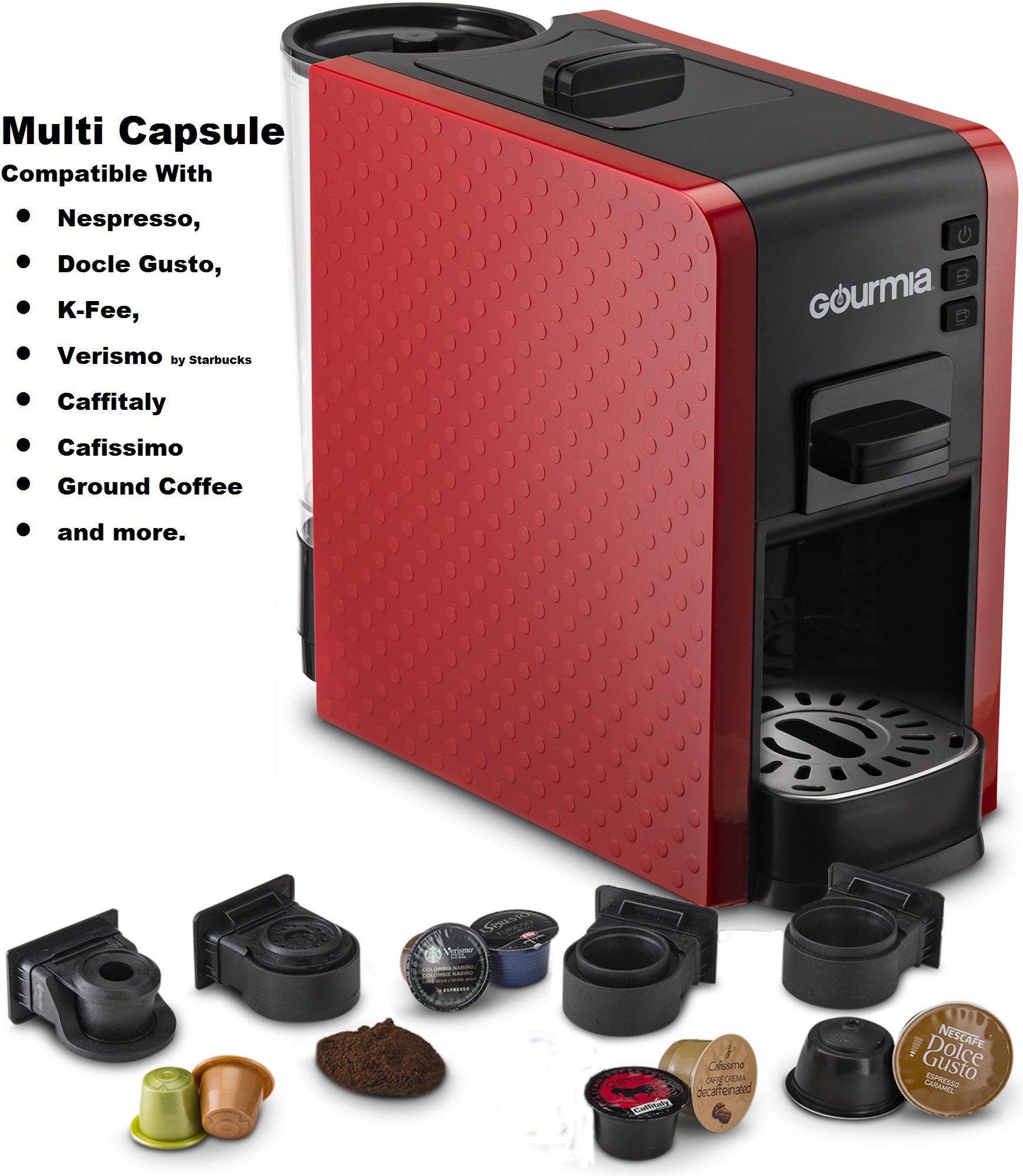 Gourmia GCM7000 Multi Capsule Espresso Coffee Machine Includes Pod Cartridges for Nespresso, Dolce Gusto, K-Fee, Verismo by Starbucks, Fresh Ground Espresso, Programmable Temperature- Red