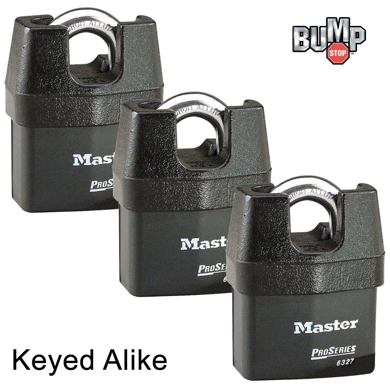 Master Lock Pro Series- High Security Padlocks Keyed Alike 6327NKA-2 BumpStop 2