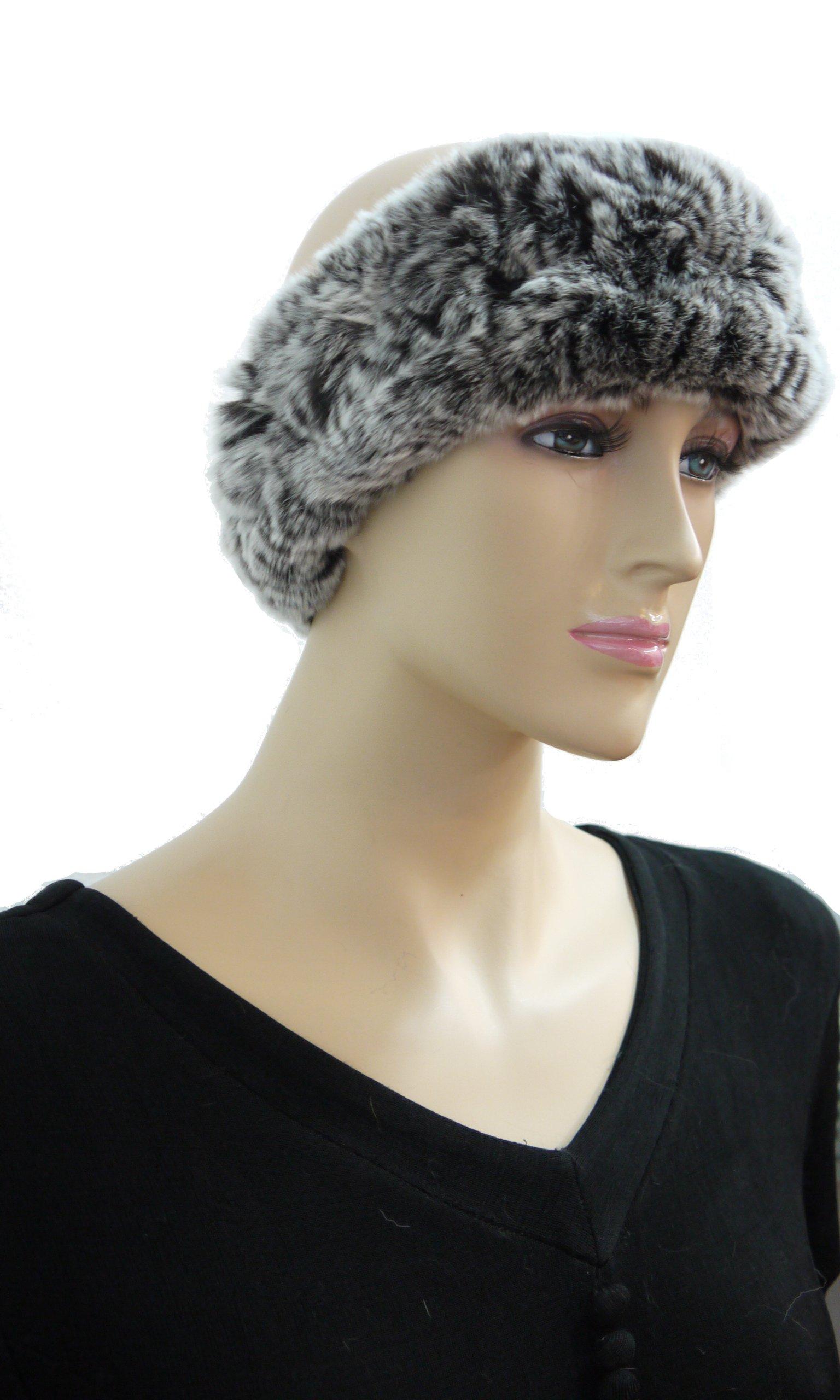100% Rex Rabbit Fur Headband - Black Frosted