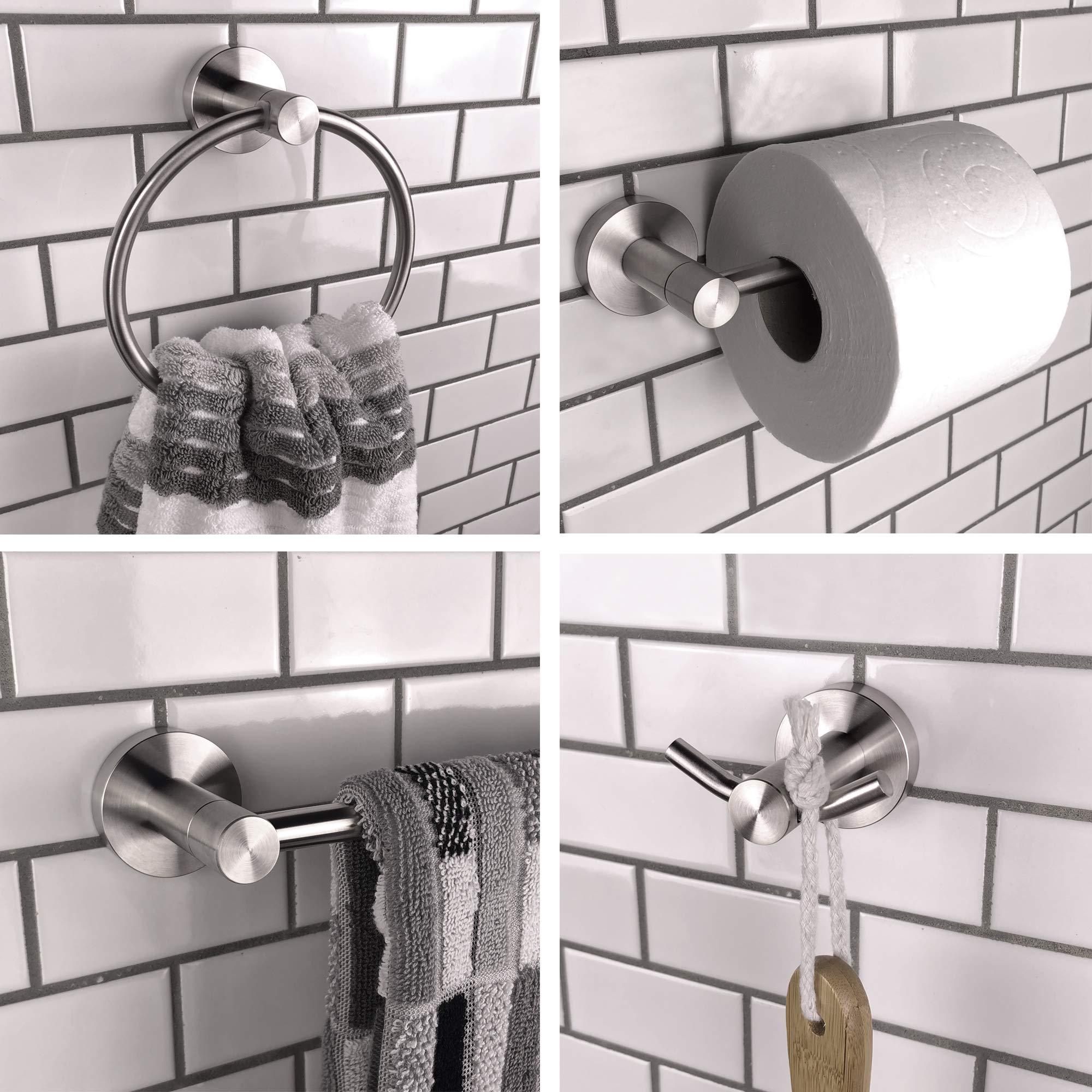 4-Piece Brushed Nickel Bathroom Accessories Hardware Set, Wall Mounted & Rustproof Bath Fixtures - Includes 24'' Towel Bar, Toilet Paper Holder, Towel Ring, Robe Hook - Towel Bar Set / Towel Holder Set