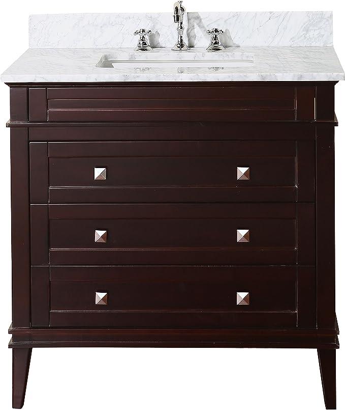 Amazon Com Eleanor 36 Inch Bathroom Vanity Carrara Chocolate Includes Chocolate Cabinet With Authentic Italian Carrara Marble Countertop And White Ceramic Sink Home Improvement