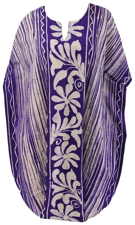 La Leela Baumwolle Bademoden Kimono Tunika Sommerkleid verschleiern Nacht Kaftan lila
