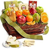Classic Fresh Fruit Basket Gift with Crackers, Cheese and Nuts for Christmas, Holiday, Birthday, Corporate
