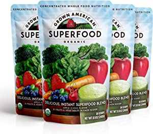 Grown American Superfood 31 Organic Whole Fruits and Vegetables Concentrated Green Powder Increase Energy and Performance Packed with Antioxidants 100% Certified Organic and Vegan Non-GMO (4)