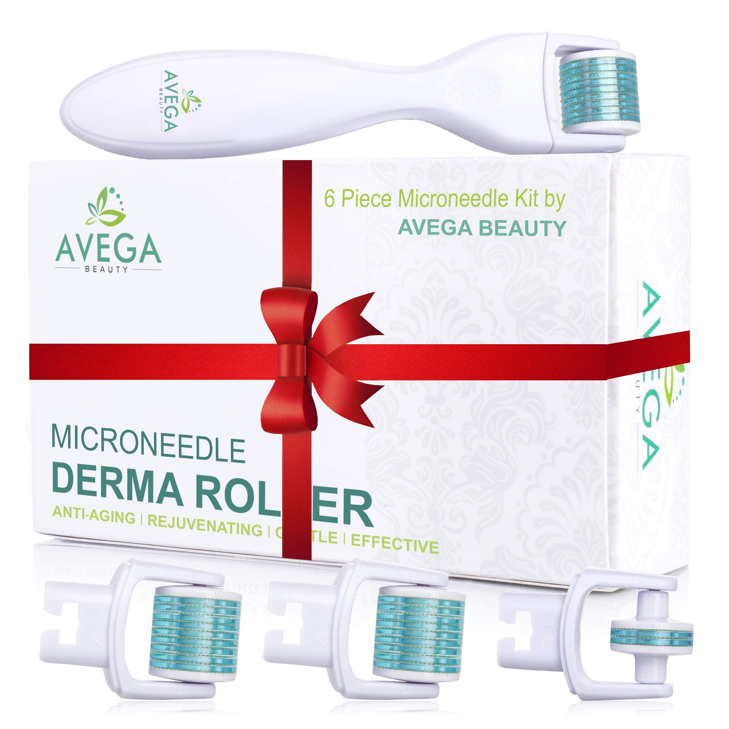 Derma Roller Kit for Face & Body: 0.25mm Length Microneedle Dermaroller Tool - Microneedling Facial Kits with 3 Replacement Heads with 600 Titanium Micro Needles, 1 with 180 Needles & Storage Case by AVEGA BEAUTY