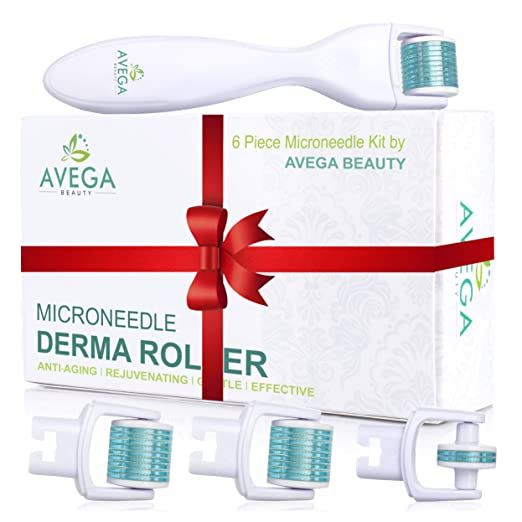 Derma Roller Kit for Face & Body: 0.25mm Length Microneedle Dermaroller Tool - Microneedling Facial Kits with 3 Replacement Heads with 600 Titanium Micro Needles, 1 with 180 Needles & Storage Case