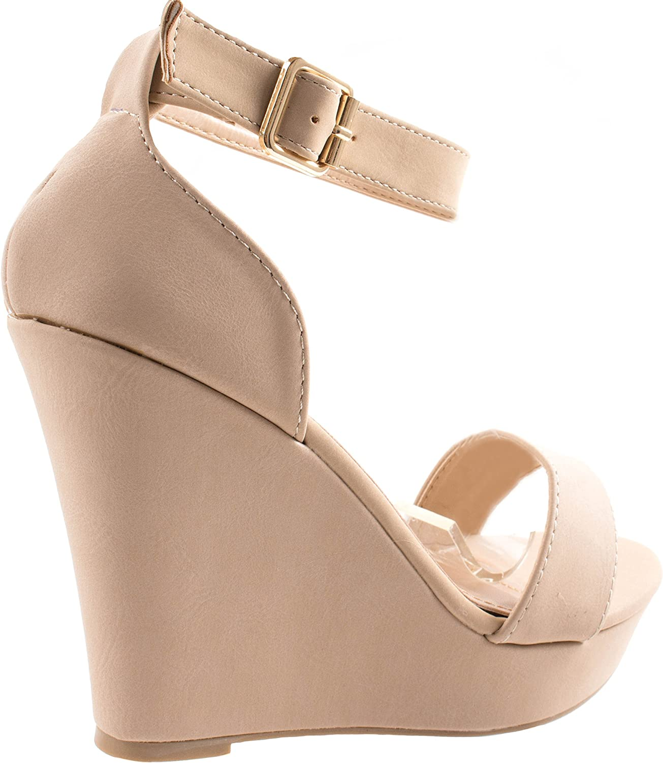 US TOP Moda Womens Beryl-1 Beige Round//Open Toe One Strap Heel Sandal Pumps with Ankle Braclet 10 D M