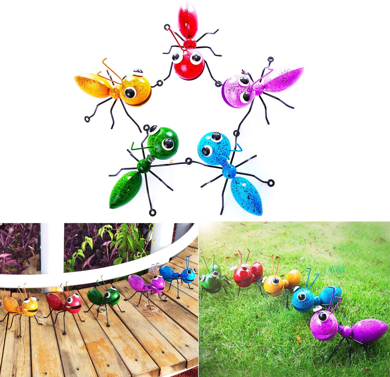 MYJAQI 3D Colorful Metal Ant Wall Decor, Room or Outdoor Garden Yard Art Wall Sculptures for Outdoor Backyard Porch Home Patio Lawn Fence Decorations (7 Inch)