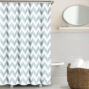 Echelon Home Chevron Shower Curtain, Silver Blue