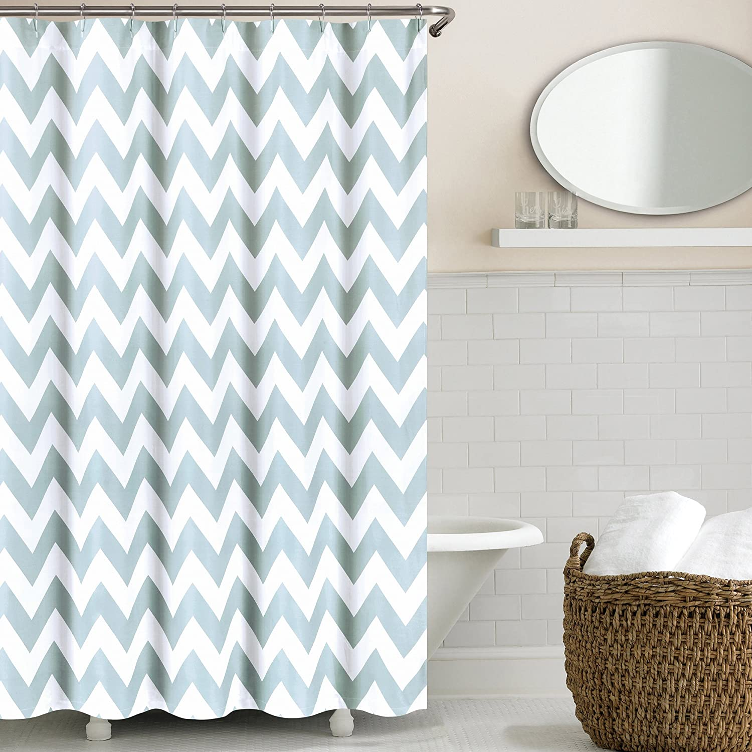 teal and yellow shower curtain.  Amazon com Echelon Home Chevron Shower Curtain Taupe Kitchen