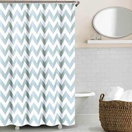 Image Unavailable Not Available For Color Echelon Home Chevron Shower Curtain Silver Blue