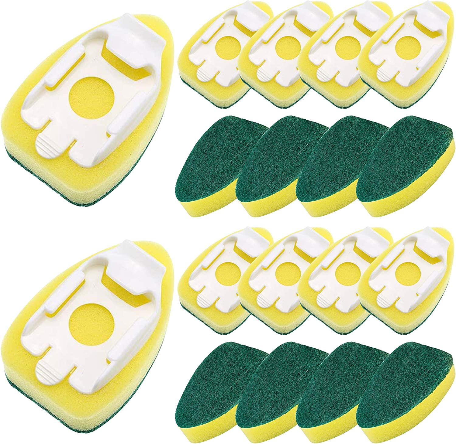 15 Pack Dish Refills Sponge Heads Brush Replacement Sponge Refill Sponge Pads for Kitchen Room Cleaning Supplies