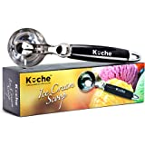 KUCHE All Ease Stainless Steel Ice Cream Scoop with Easy Trigger and Easy Clean - Large (BLACK)