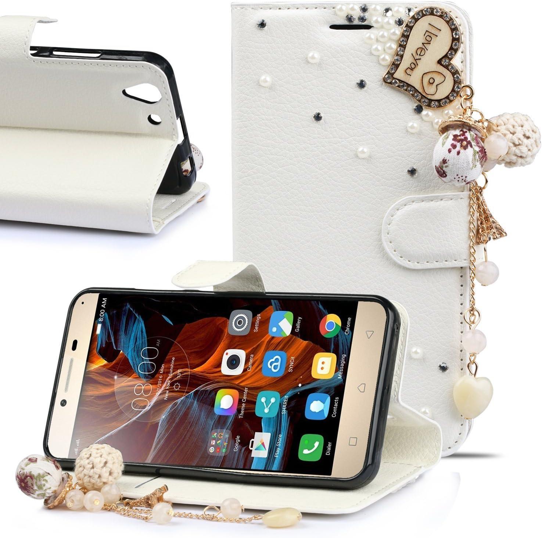 BYD - Para Lenovo Vibe K5 Case Blanco 3D Bling Rhinestone Diamantes y Perlas Magnética Función de Soporte Funda Stand Flip PU Cuero PU del Tirón del Teléfono con Corona de Perlas: