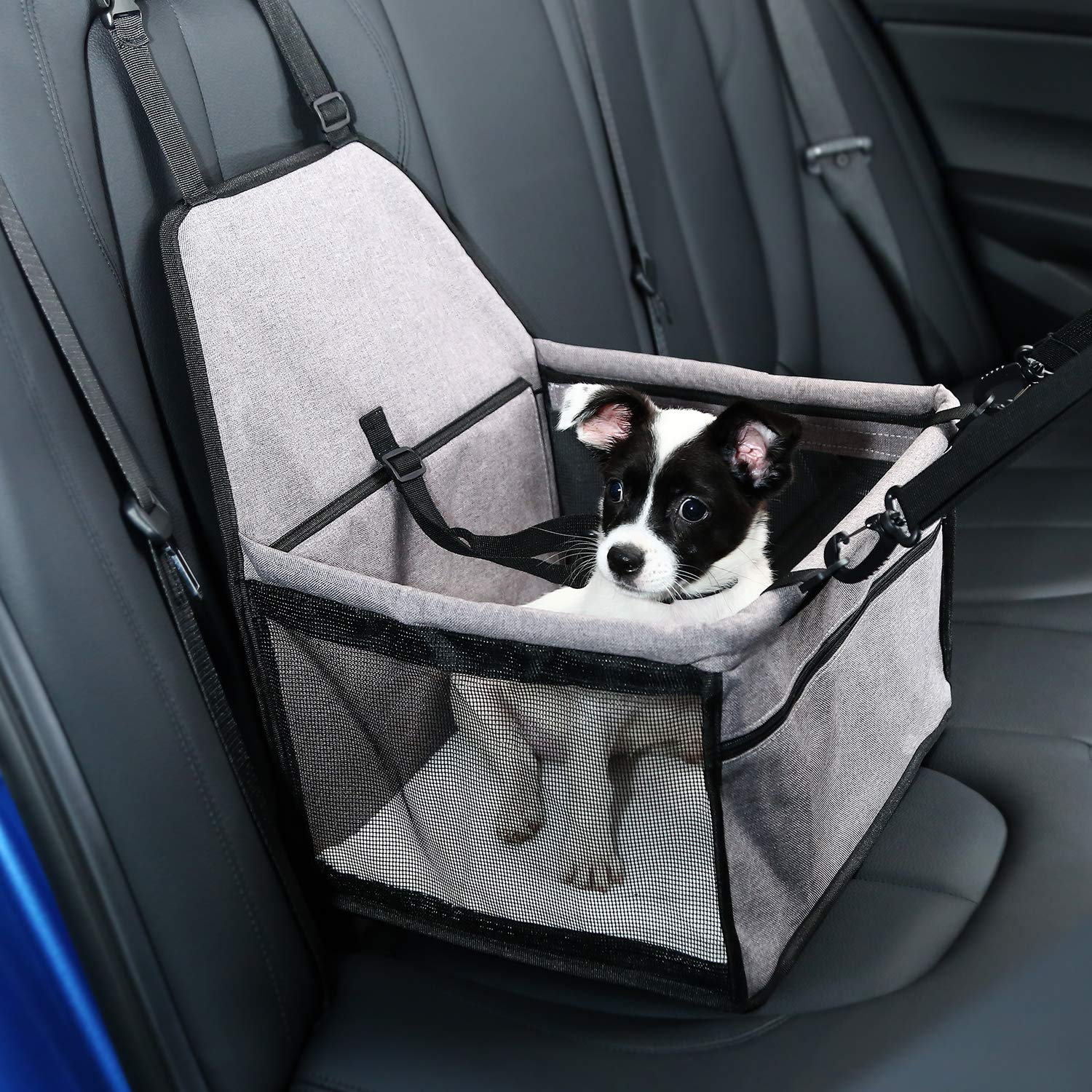 Pet Car Booster Seat for Dogs Cats Pet, Folding Pet Car Seats Cat Car Travel Safety Seat Pet Carrier Bag with Clip-On Safety Leash and Zipper Storage Pocket - KatzeTatze