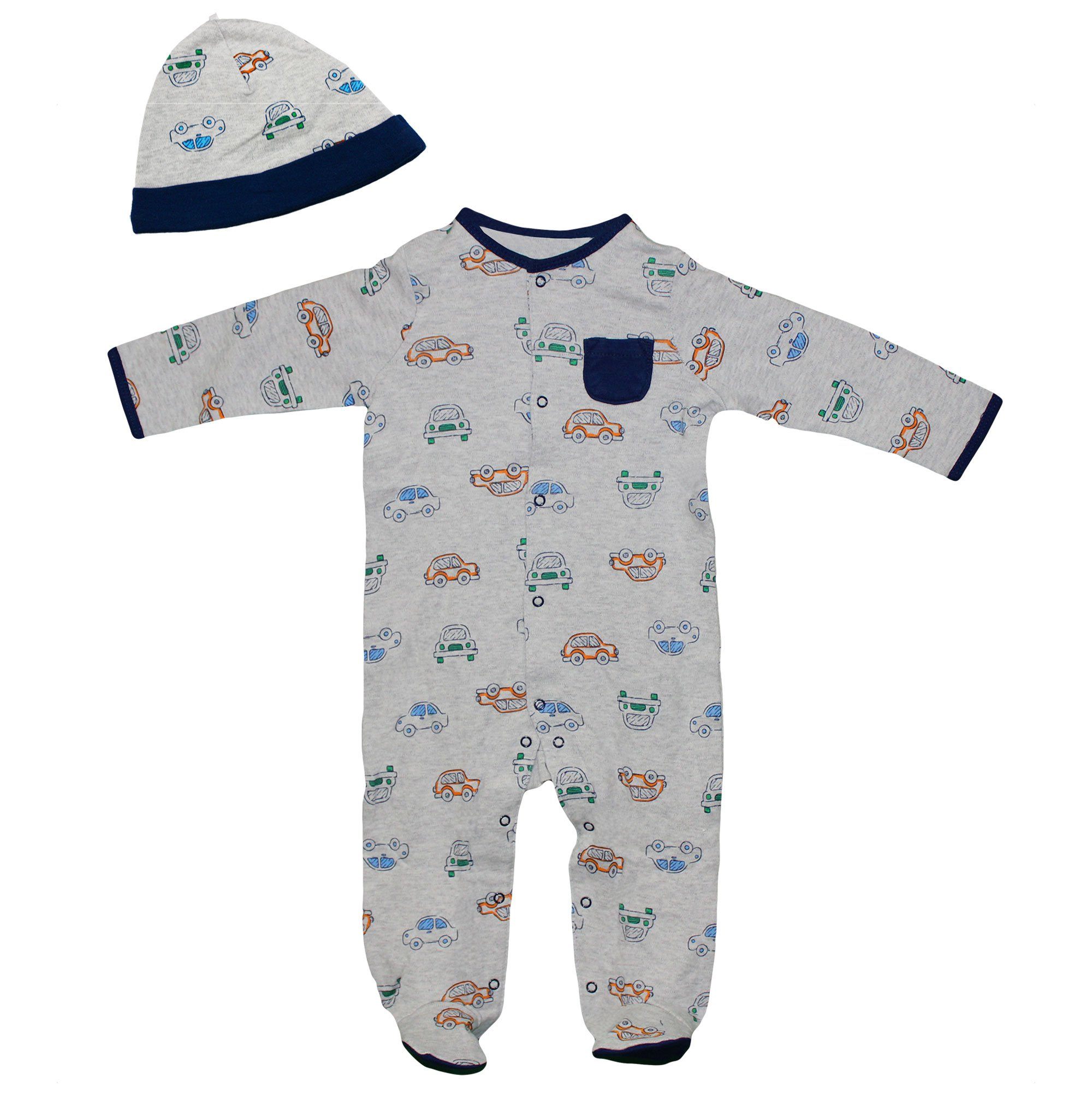 Little Me Baby Boys Cars Footie Pajamas Footed Sleeper and Hat Grey Navy Blue 6M