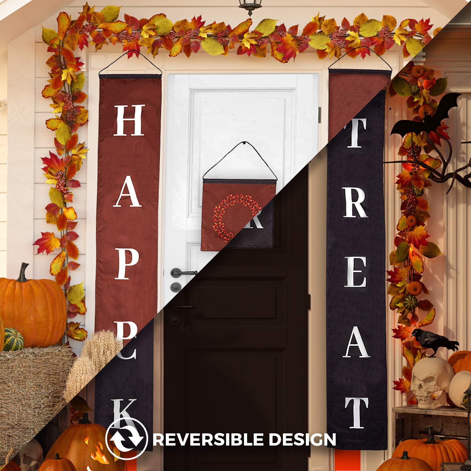 Reversible Trick or Treat Halloween & Happy Fall Banner Party Decorations, Durable 3 Piece Set, Perfect for Front Door Home or Office Decor, Ready to Hang Indoor or Outdoor Display
