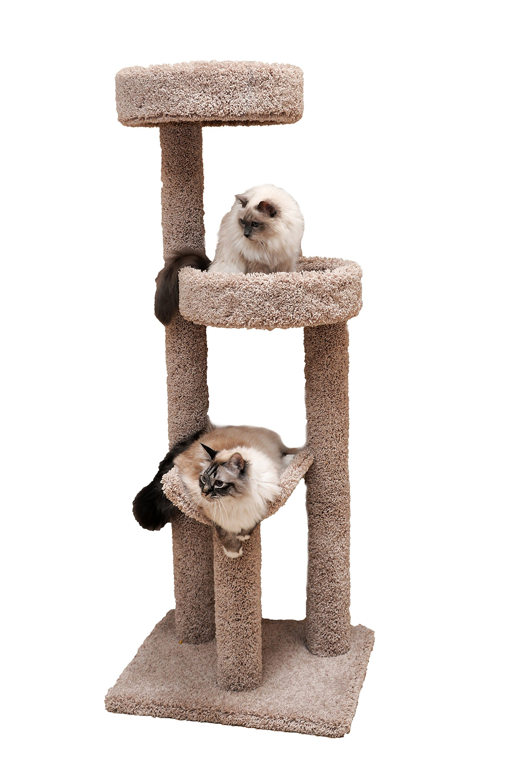 Miller's Cats 1003 Cozy Climber Cat Furniture with 3 Plush Carpeted Platforms, Beige, 60''