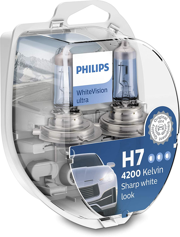 Philips 12972WVUSM WhiteVision - bombilla para faros delanteros de coches - Bombilla para coches (H7, 55 W, Halógeno, Luces largas, Luces cortas, PX26d, 4200 K, blanco intenso)
