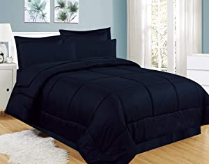 Sweet Home Collection 8 Piece Comforter Set Bag with Greek Key Design, Bed Sheets, 2 Pillowcases, 2 Shams Down Alternative All Season Warmth, Queen, Navy
