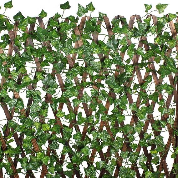 MIHOUNION 12 Stück Künstliche Efeu Hedera Seide Blätter Hängen Grün künstliche Pflanzen Dekoration Efeugirlanden Hecken Sicht