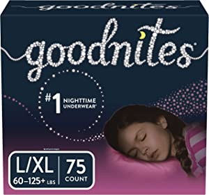 Goodnites Bedwetting Underwear for Girls, L/XL, 75 Ct, Stock Up Pack (Packaging May Vary)