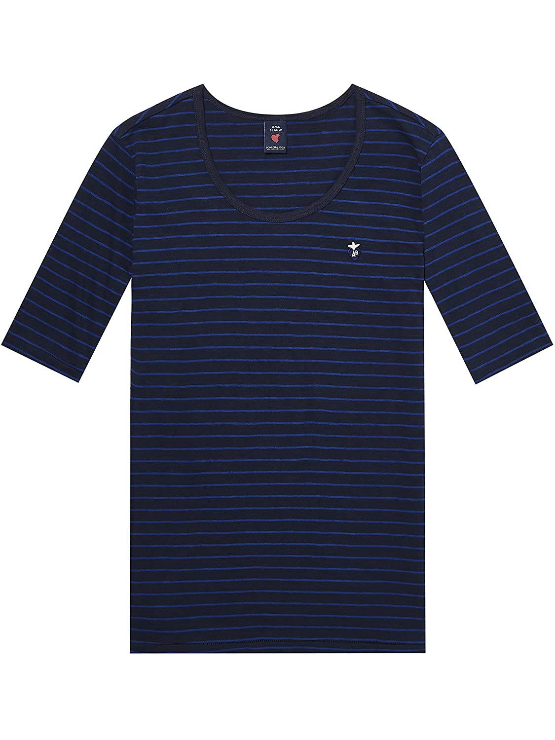 Scotch & Soda Striped Classic S/S Round Neck tee, Camiseta para Mujer