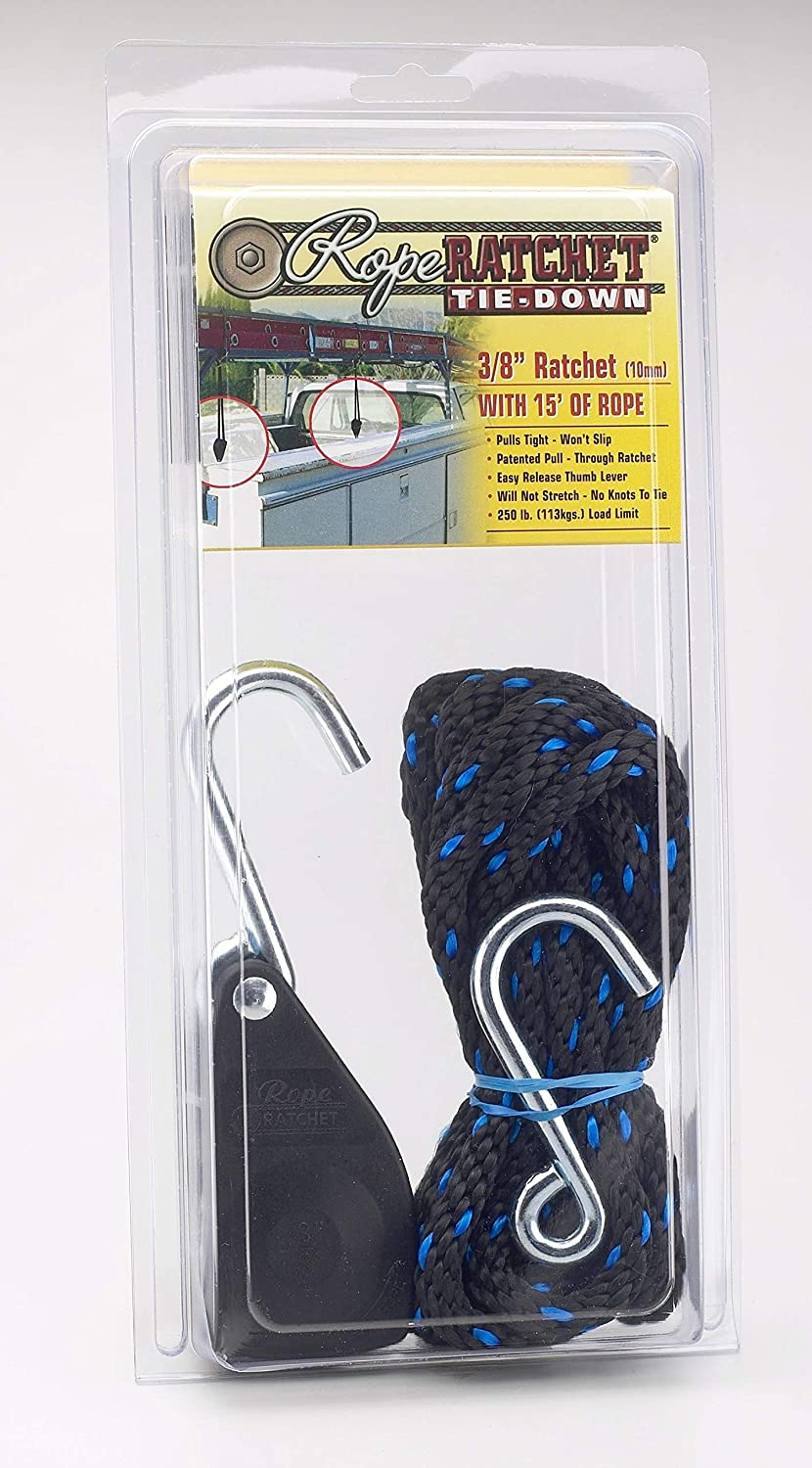 Capacity Carolina North 10025 3//8 Rope Ratchet with 15 Solid Braided Polypropylene Rope 250-lb