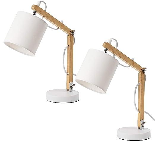 BRUBAKER Juego de 2 lámparas de lectura o de mesa - hasta 52 cm de altura - brazo de madera regulable color natural - pantalla blanco