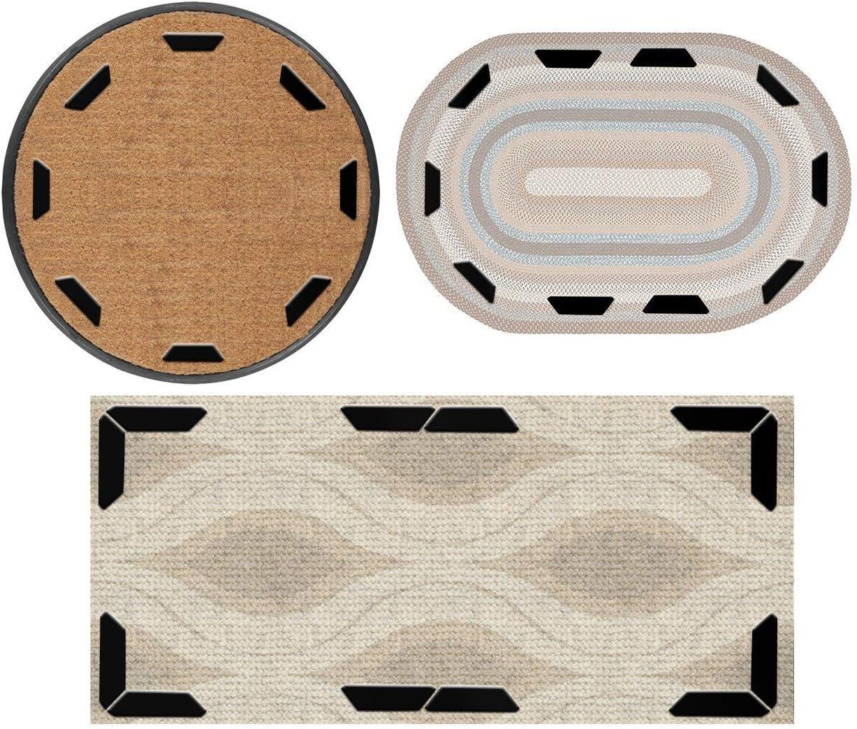 Rug Grippers tapis r/éutilisable tapis rugueux Tapis anti-d/érapant pour tapis 4pcs triangle + 8pcs trap/èze, noir petit et moyen tapis de tapis