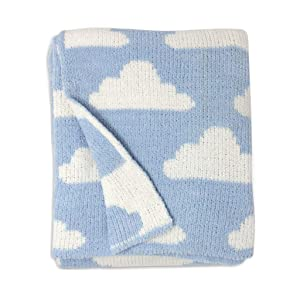 Living Textiles Blue Clouds Chenille Soft Baby Blanket Premium Cozy Fabric for Best Comfort - for Infant,Toddler,Newborn,Nursery,Boy,Unisex,Throw,Crib,Stroller,Gift, Blue Clouds 40x30